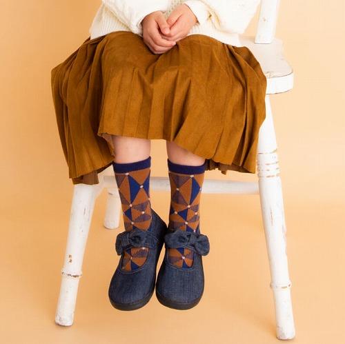 stample スタンプル パターン切り替えクルーソックス3足組 靴下 くつ下 キッズ 子供 親子お揃い