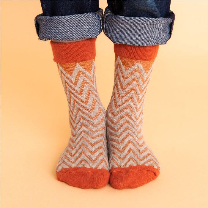 stample スタンプル ジグザグフロートクルーソックス3足組 靴下 くつ下 キッズ 子供 親子お揃い