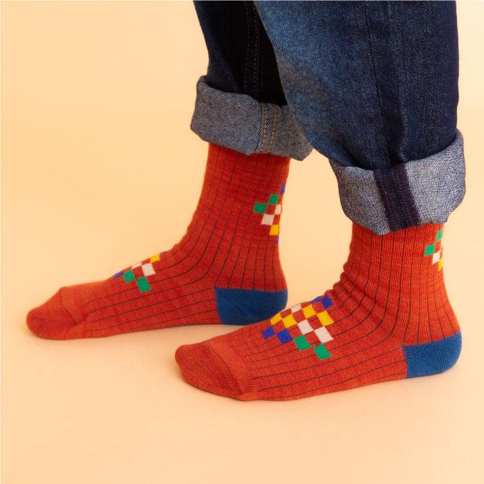 stample スタンプル スクエアチップクルーソックス3足組 靴下 くつ下 キッズ 子供 親子お揃い