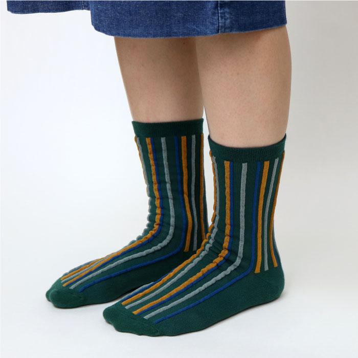 stample スタンプル ランダムストライプクルーソックス3足組 靴下 くつ下 キッズ 子供 親子お揃い