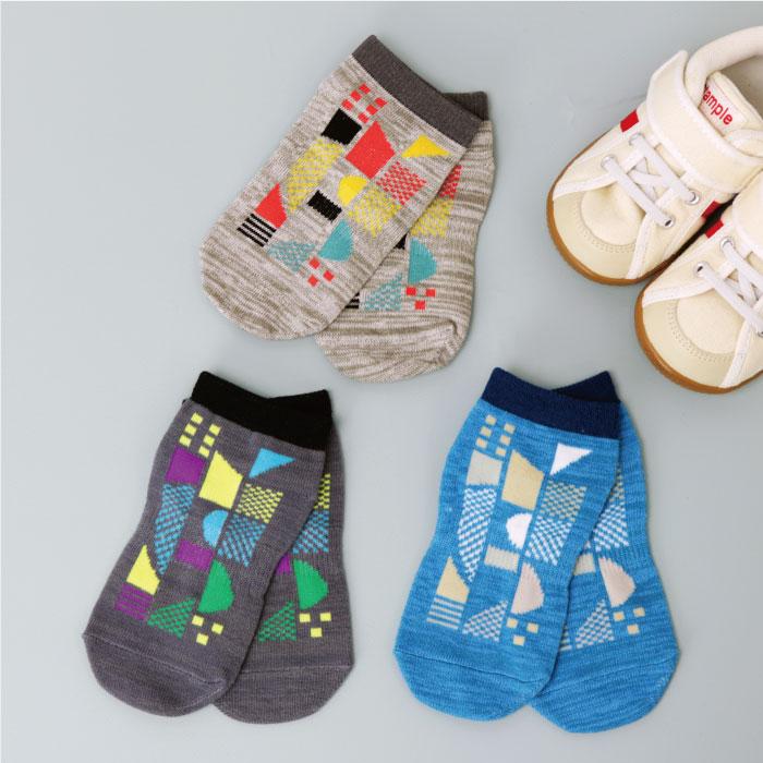 stample スタンプル デジタル柄アンクルソックス 3足組 靴下 くつ下 キッズ 子供