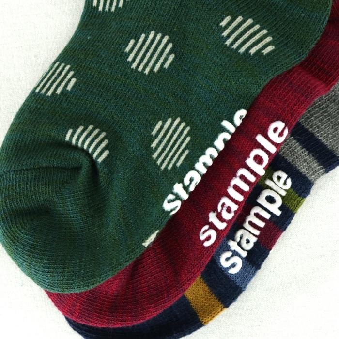 スタンプル stample 3パターンクルーソックス 3足組