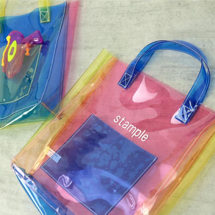 スタンプル STAMPLE  カラフルトートバッグ キッズ・子どもトートバッグ ピンク ブルー かばん カバン 子供 幼稚園 保育園 小学生