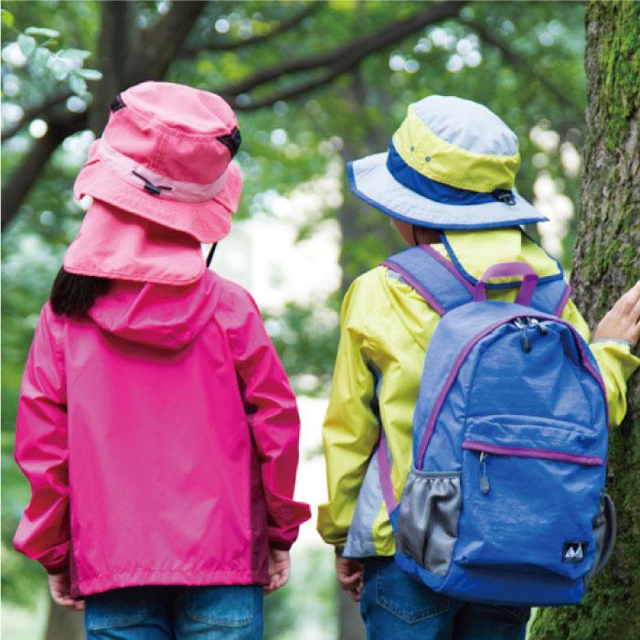 キャンプスタンプル CAMP STAMPLE  ポケッタブルアウトドアハット キッズ ピンク ライム ブルー 子供用 幼稚園 保育園 男の子 女の子