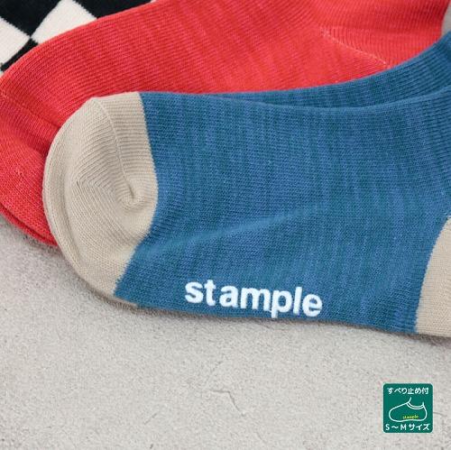 stample スタンプル チェッカーモチーフショートソックス 3足組 靴下 くつ下 キッズ 子供 親子お揃い