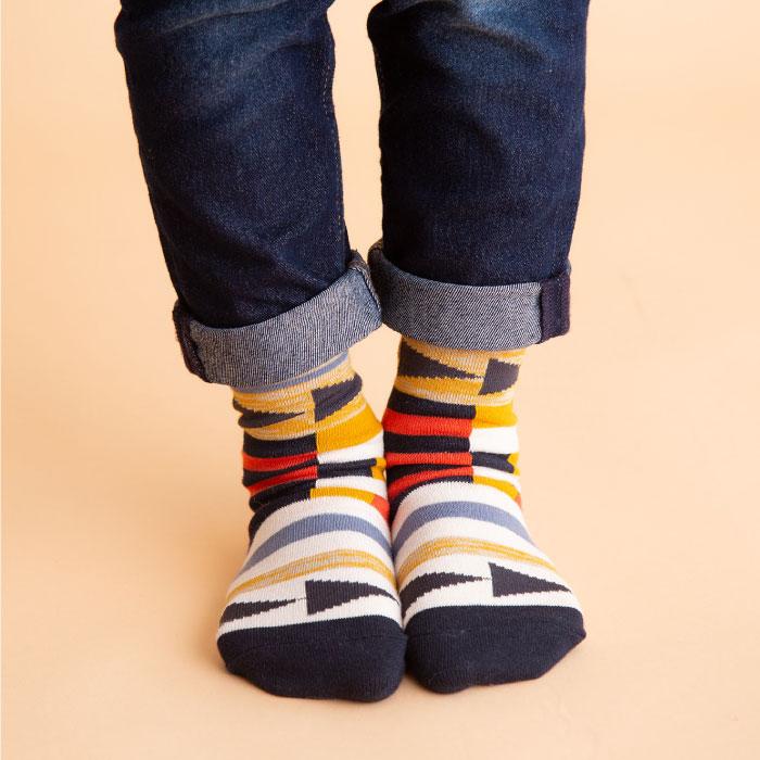 stample ベクトルボーダー クルーソックス3足組 靴下 くつ下 キッズ 子供