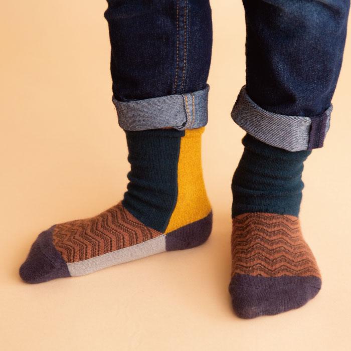 stample カラーブロッククルーソックス3足組 靴下 くつ下 キッズ 子供