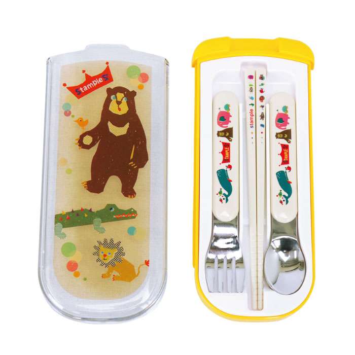 スタンプル stample 日本製 子供用 ランチトリオセット(スプーン/フォーク/はし) キッズ ベビー お弁当 箸