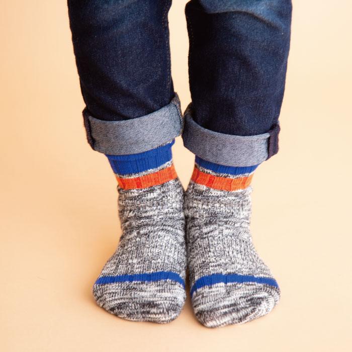 stample  ローゲージライン クルーソックス3足組 靴下 くつ下 キッズ 子供