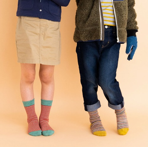 stample スタンプル BDBDBDクルーソックス 3足組 靴下 くつ下 キッズ 子供 親子お揃い ボーダー 72449