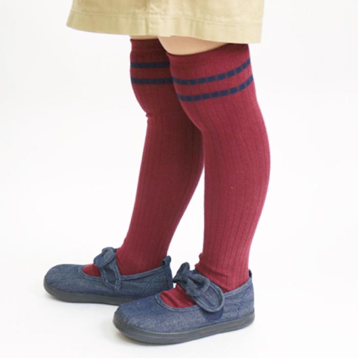 stample ラインニーハイソックス 2足組 靴下 くつ下 キッズ 子供