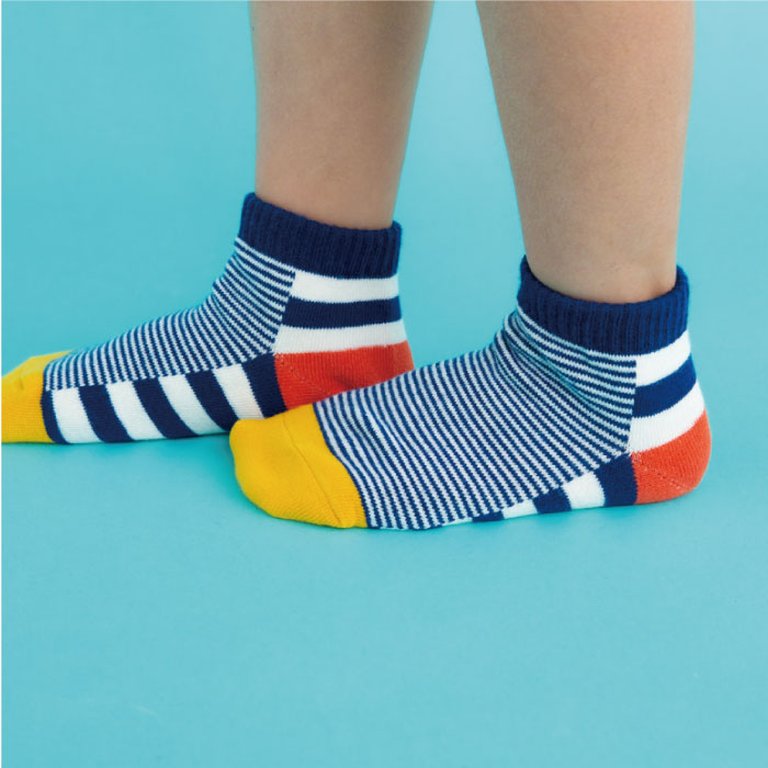 stample スタンプル ボーダー切り替えアンクルソックス 3足組 靴下 くつ下 キッズ 子供