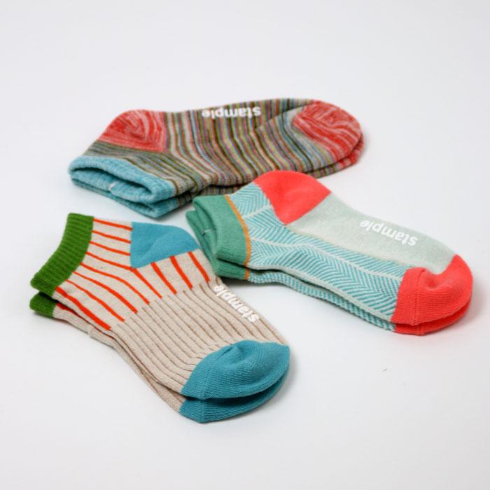 stample スタンプル マルチパターンアンクルソックス 3足組 靴下 くつ下 キッズ 子供