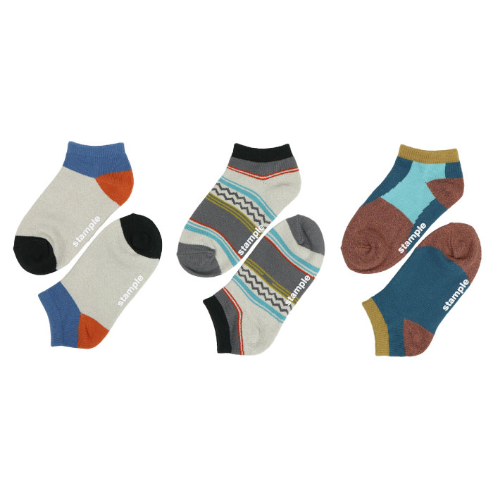 stample スタンプル ラグパターンアンクルソックス 3足組 靴下 くつ下 キッズ 子供