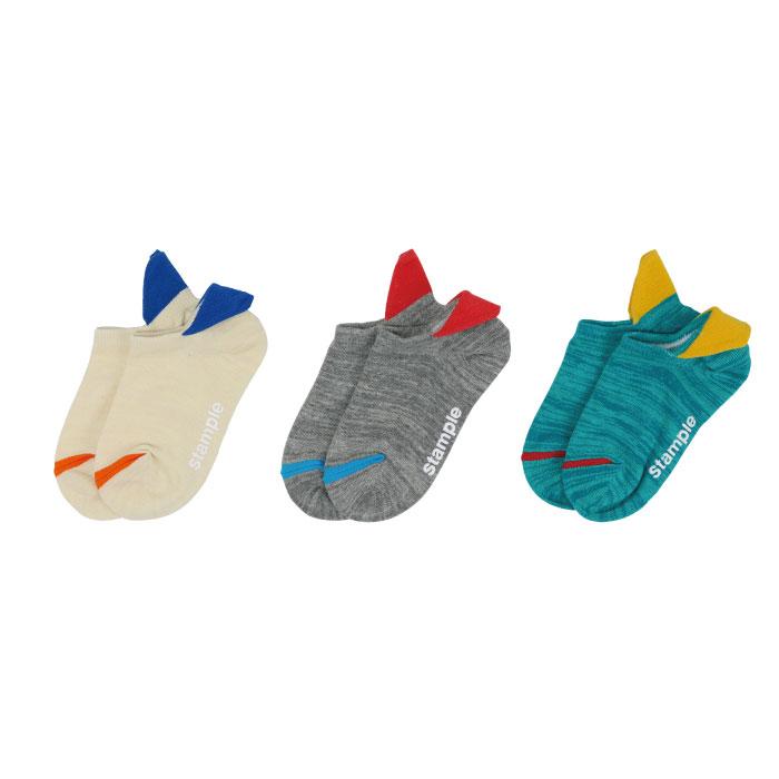 スタンプル stample ヒールティップローカットソックス 3足組 子供 靴下 キッズ