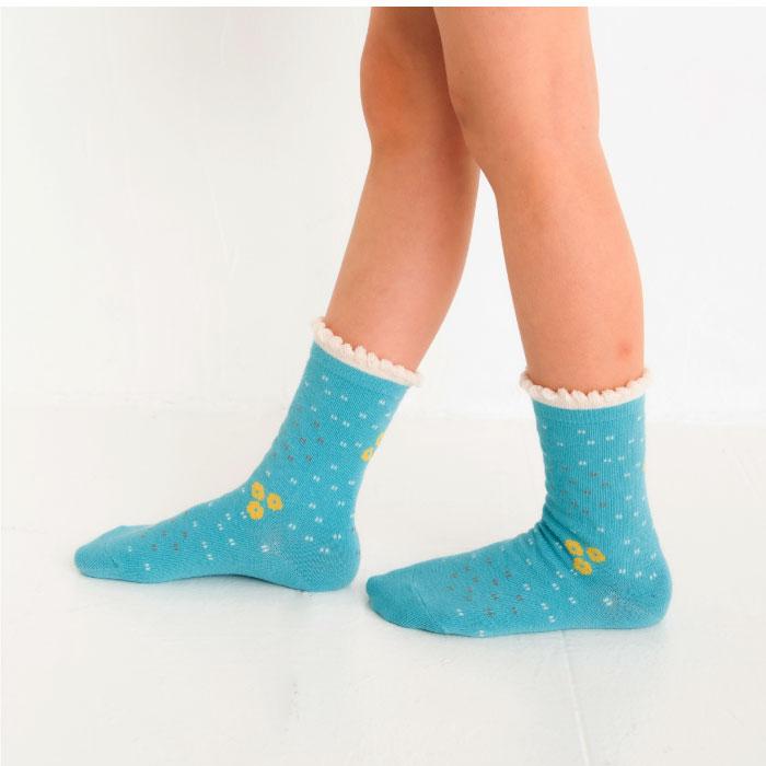 stample スタンプル フォレストフラワークルーソックス3足組 靴下 くつ下 キッズ 子供 親子お揃い