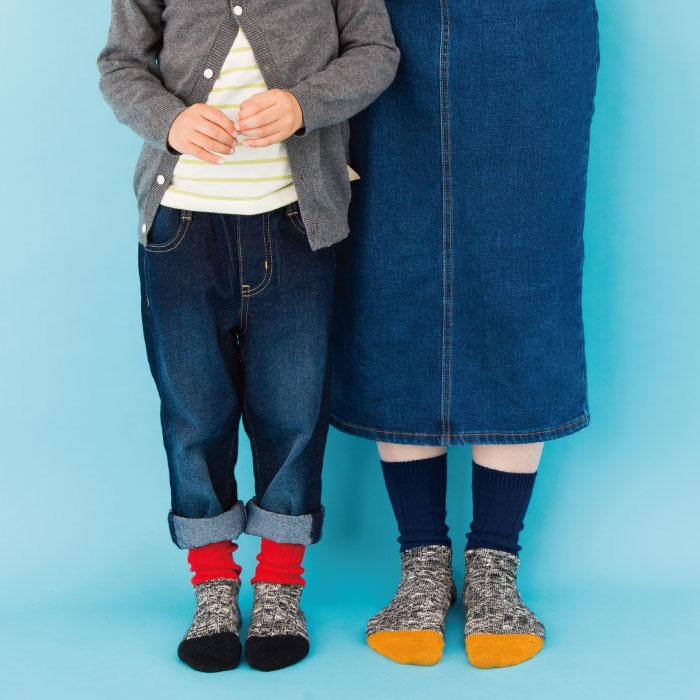 【新色追加!】stample スラブスウィッチ リブ クルーソックス3足組 靴下 くつ下 キッズ 子供 男の子 女の子 秋 冬