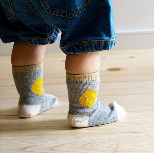 stample きいろいたべものベビークルーソックス3足組 靴下 くつ下 キッズ 子供