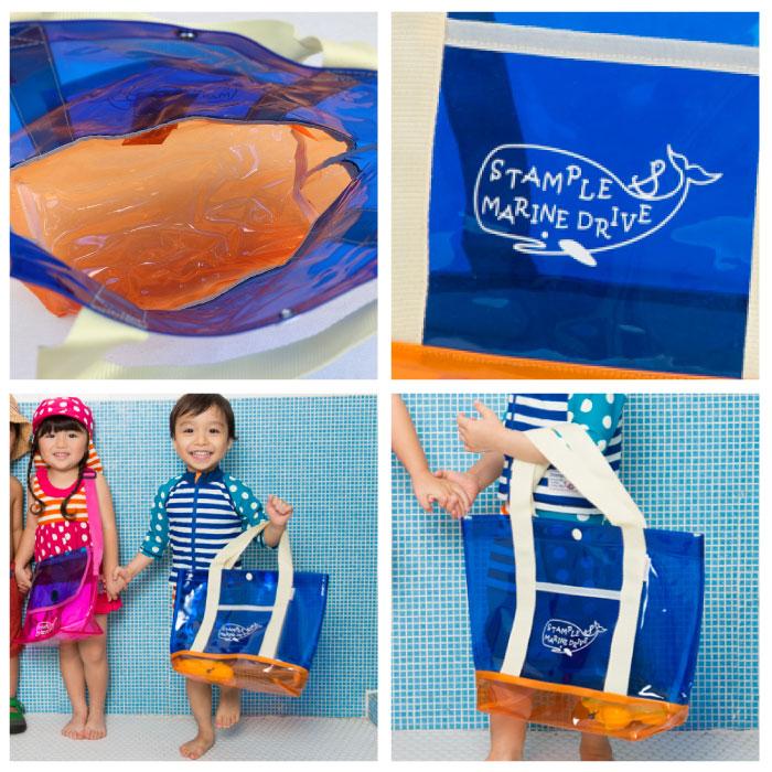 スタンプル(stample)  PVC くじらプールトート 男女兼用 かばん カバン 水泳 キッズ 子供