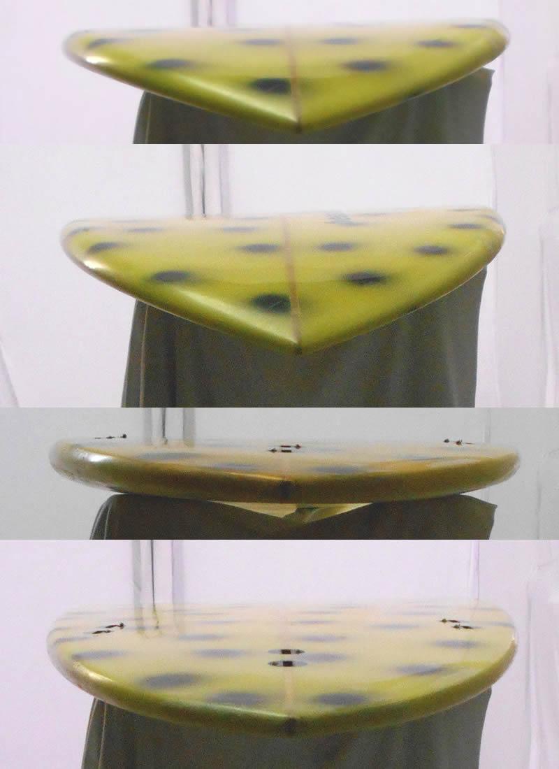 """【中古】BESSELL SURF BOARD (ベッセルサーフボード) ファンボード [YELLOW×DOT]7'7"""" サーフボード"""