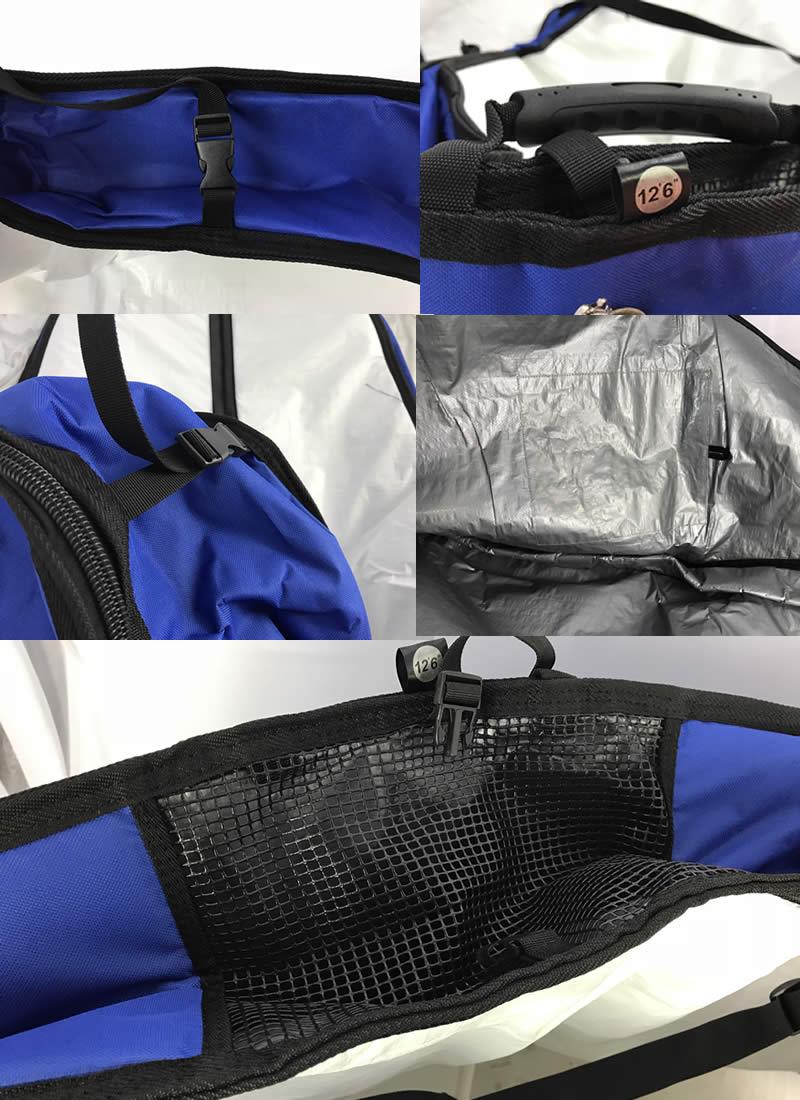 """【新品】ノーロゴ SUPレースボード ボードバッグ[WHITE/BLUE] 12'6""""  ショルダーストラップ付 レース艇 ハードケース"""