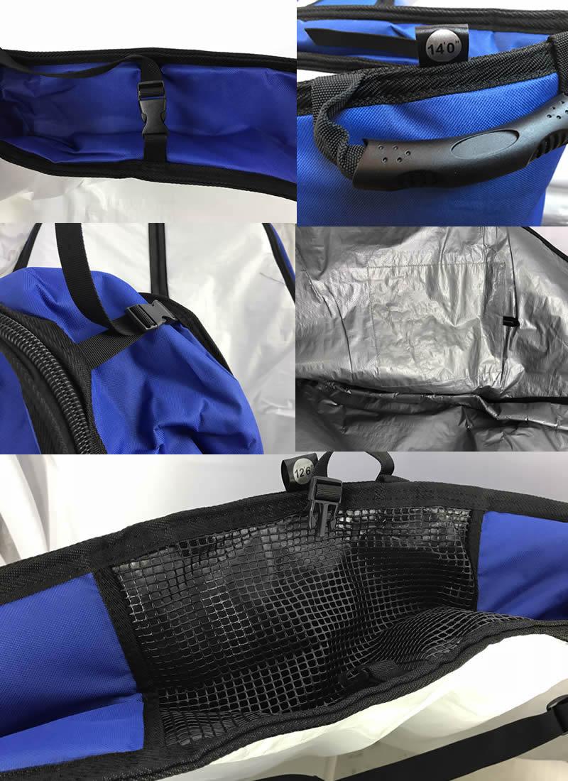 """【新品】ノーロゴ SUPレースボード ボードバッグ[WHITE/BLUE] 14'0"""" ショルダーストラップ付 レース艇 ハードケース"""