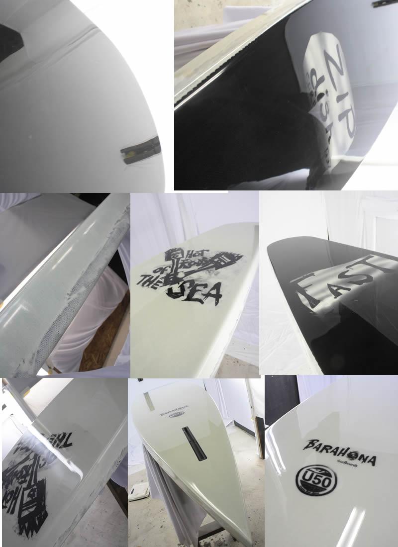 """【新品】UNITED FIFTY (ユナイテッドフィフティー) FAST SURFBOARD BRIAN BENT ZIP DISH モデル [BLACK×WHITE]  9'6"""" サーフボード カリフォルニア"""
