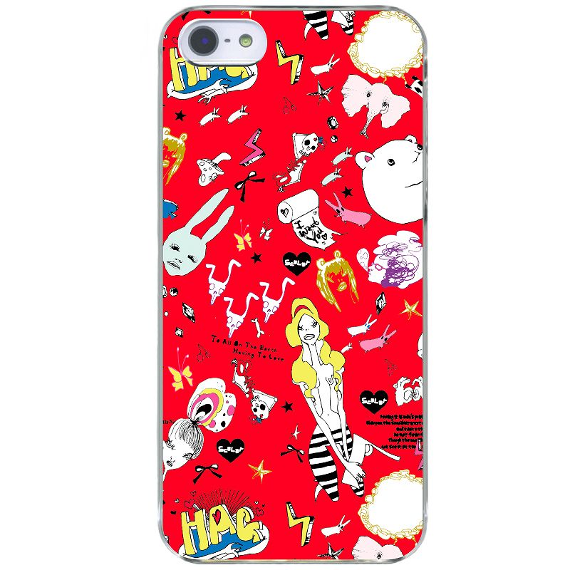 アニマルと女の子のイラストコラージュ(像、うさぎ、ドクロ、クマ、星)-クール-【スカラー】の 各種iPhone ipodtouch 用 iphoneケース