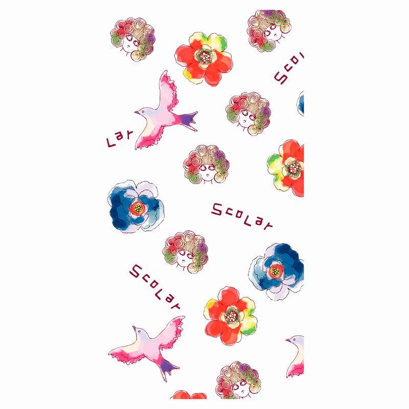水彩色のポップで綺麗な花とハトとスカラ子【 スカラー の スマホカバー 】の ドコモ 2013年冬発売モデル スマートフォンケース