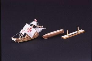 ウッディジョー木製帆船模型ボトルシップサンタマリア[レーザーカット加工]※瓶はキットに含まれていません