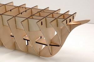 ウッディジョー木製帆船模型1/80日本丸レーザーカット加工