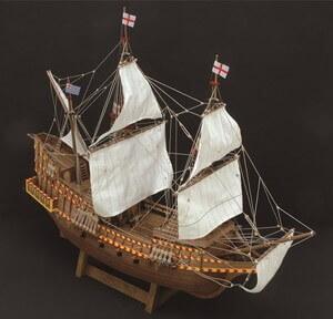 ウッディジョー木製帆船模型1/50ゴールデンハインドレーザーカット加工
