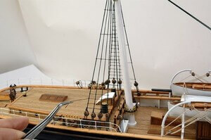 ウッディジョー木製帆船模型1/80カティサーク[帆付]レーザーカット加工