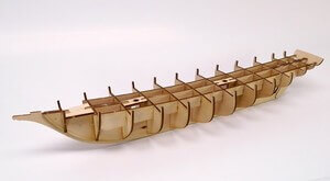 ウッディジョー木製帆船模型1/70忍路丸[おしょろまる][改良版]