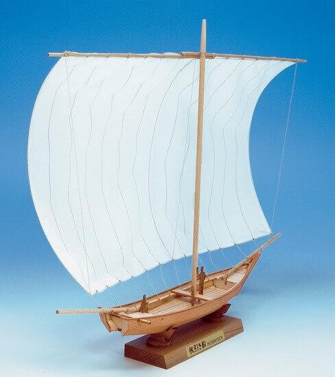 ウッディジョー木製建築模型ミニ和船帆引き船 (霞ヶ浦)