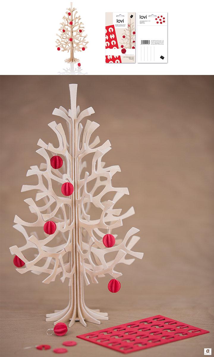 クリスマスツリー【30cm】Momi-no-ki+ミニボール(レッド)セット / Lovi(ロヴィ)【日本総代理店】