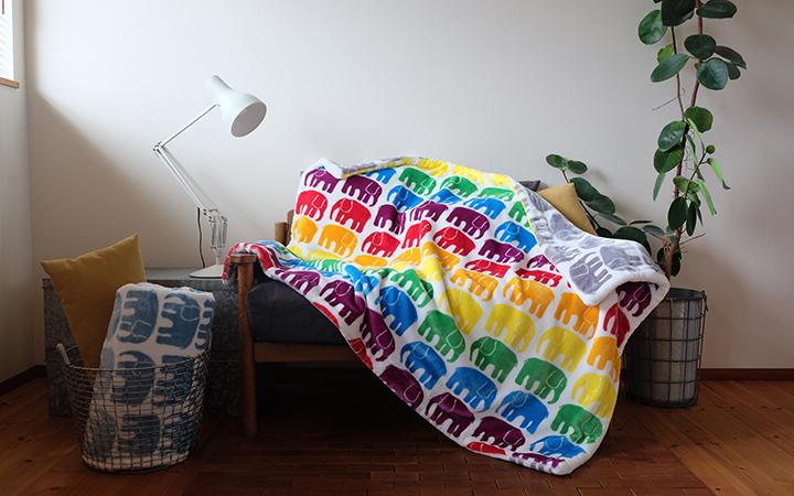 リバーシブルハーフ毛布 140×100cm ELEFANTTI エレファンティ  / Finlayson(フィンレイソン)