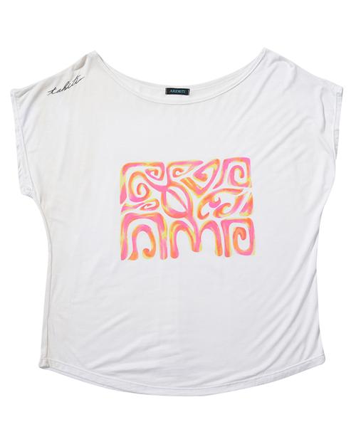 オフショルダープリントTシャツ(フェヌア ホワイト)