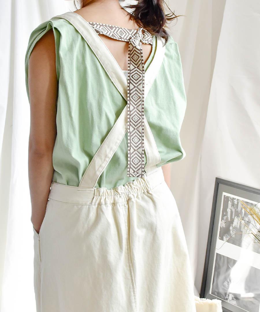 Back belt flare sleeveless tops 24149 【メール便配送対応】