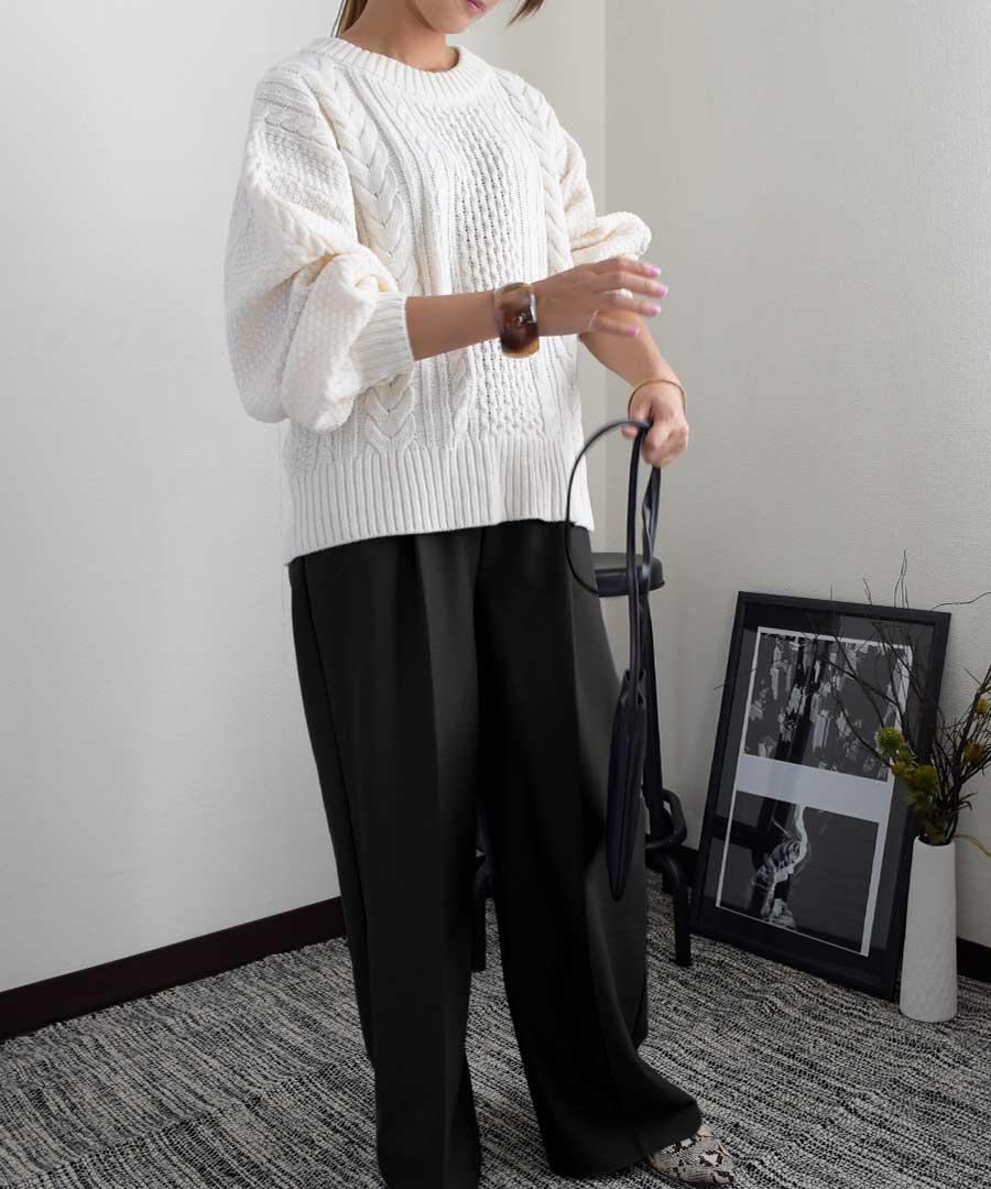 【SALE/クーポン利用不可・返品交換不可】Tuck wide pants 22075  60%OFF