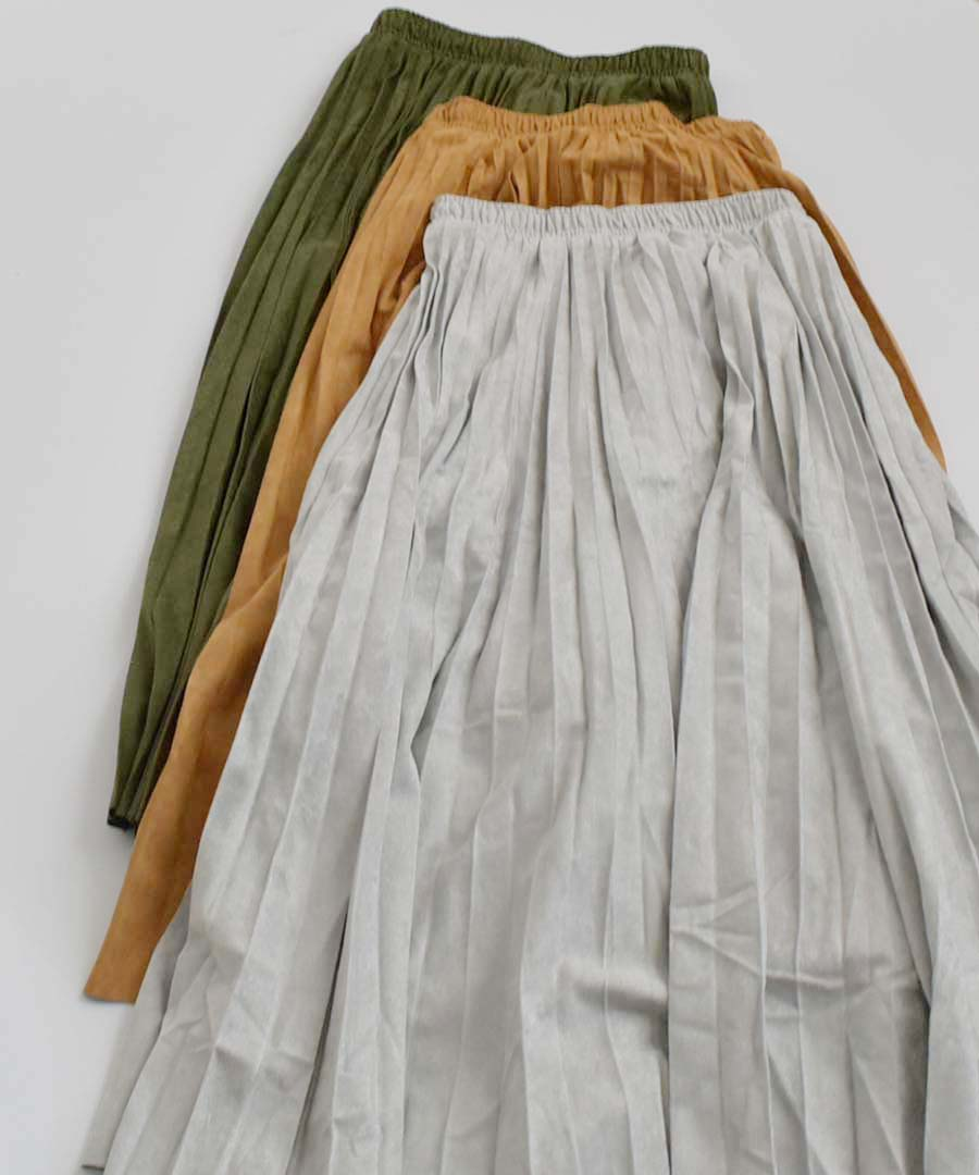 Fake suede pleats skirt 222033 【メール便配送対応】