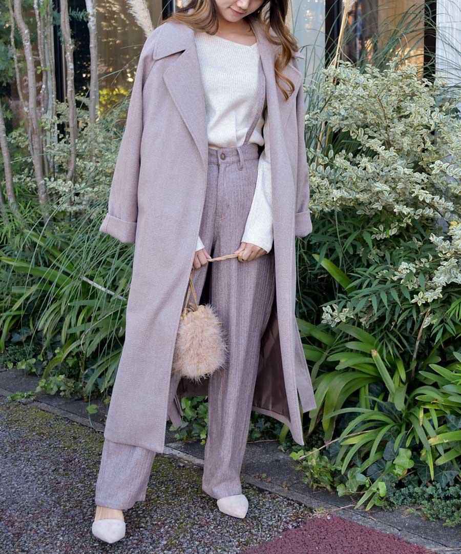 【即納!!】Wool blend long gown coat 21079 【ゆうパックのみ・送料無料】