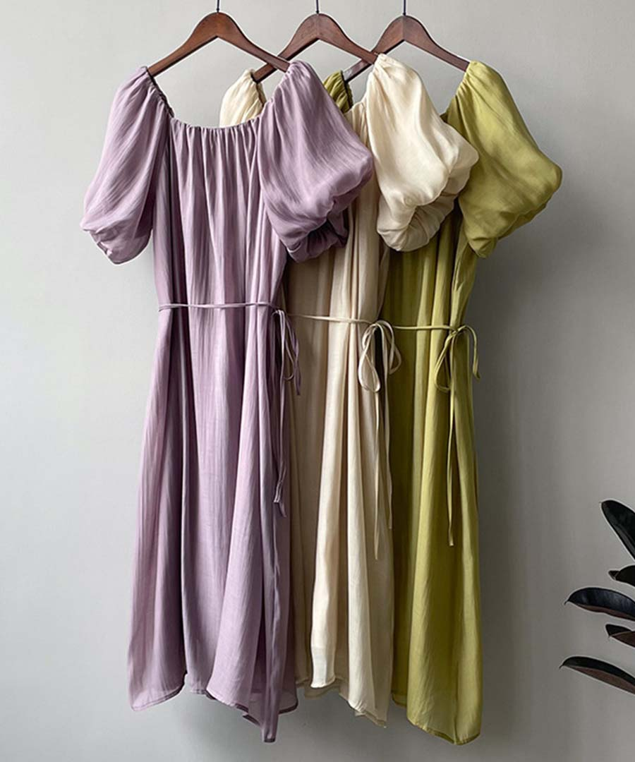 【SALE/クーポン利用不可・返品交換不可】Cotton Frenchsleeve long one-piece 29078  60%OFF