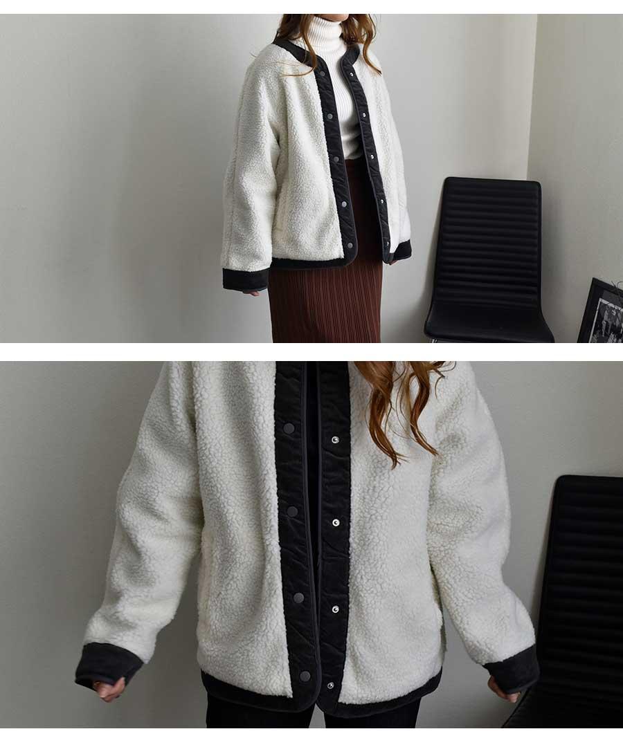 【予約販売・12月上旬発送予定】【予約商品は日付指定が出来ません】Corduroy Piping Boa Jacket 21084【ゆうパックのみ】