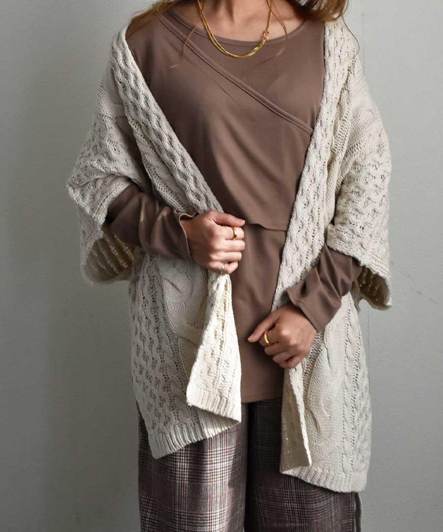 Bulky cable poncho cardigan 25074 【ゆうパックのみ】