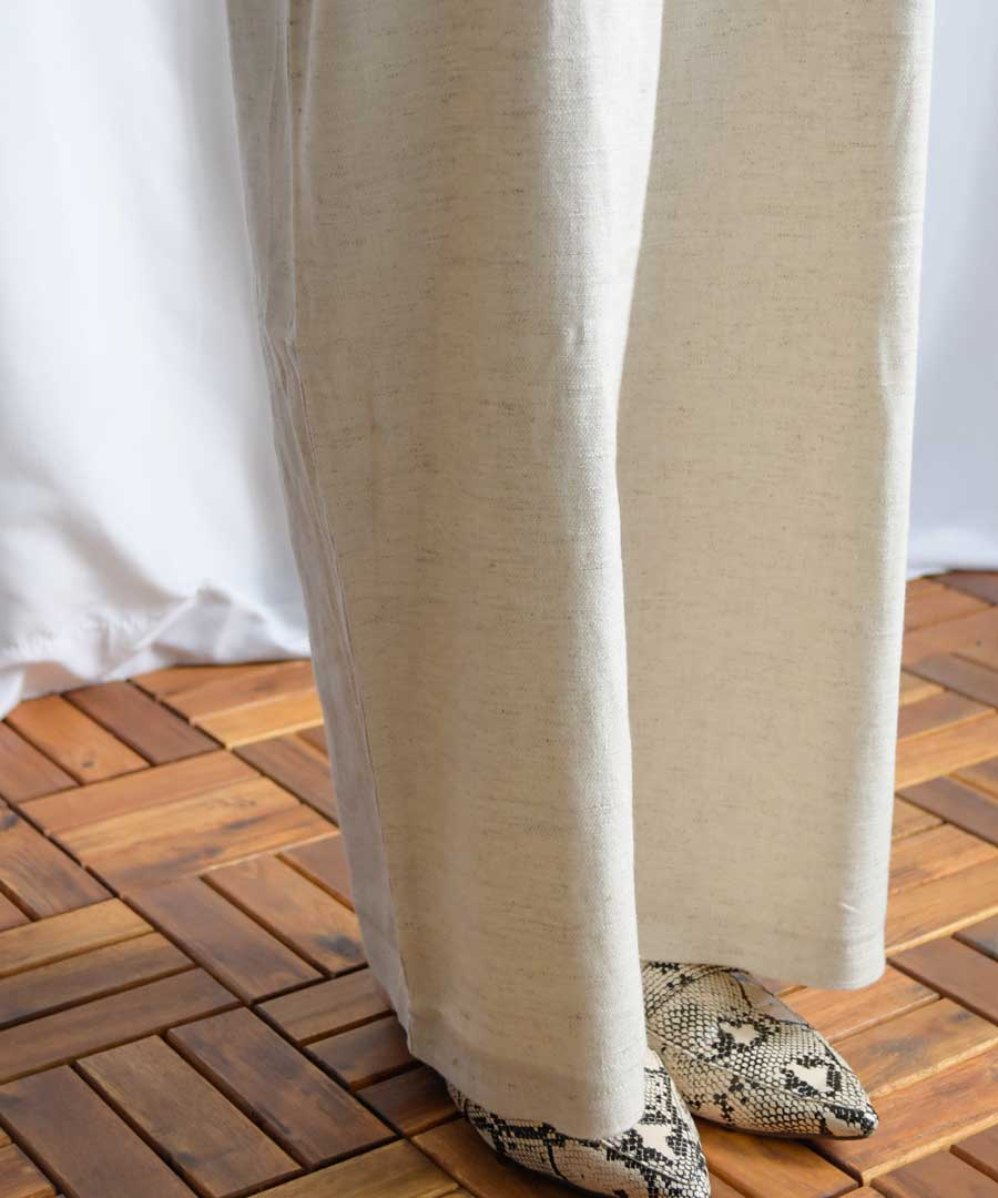 Linen blend salopette tapered pants 29083 【メール便配送対応】