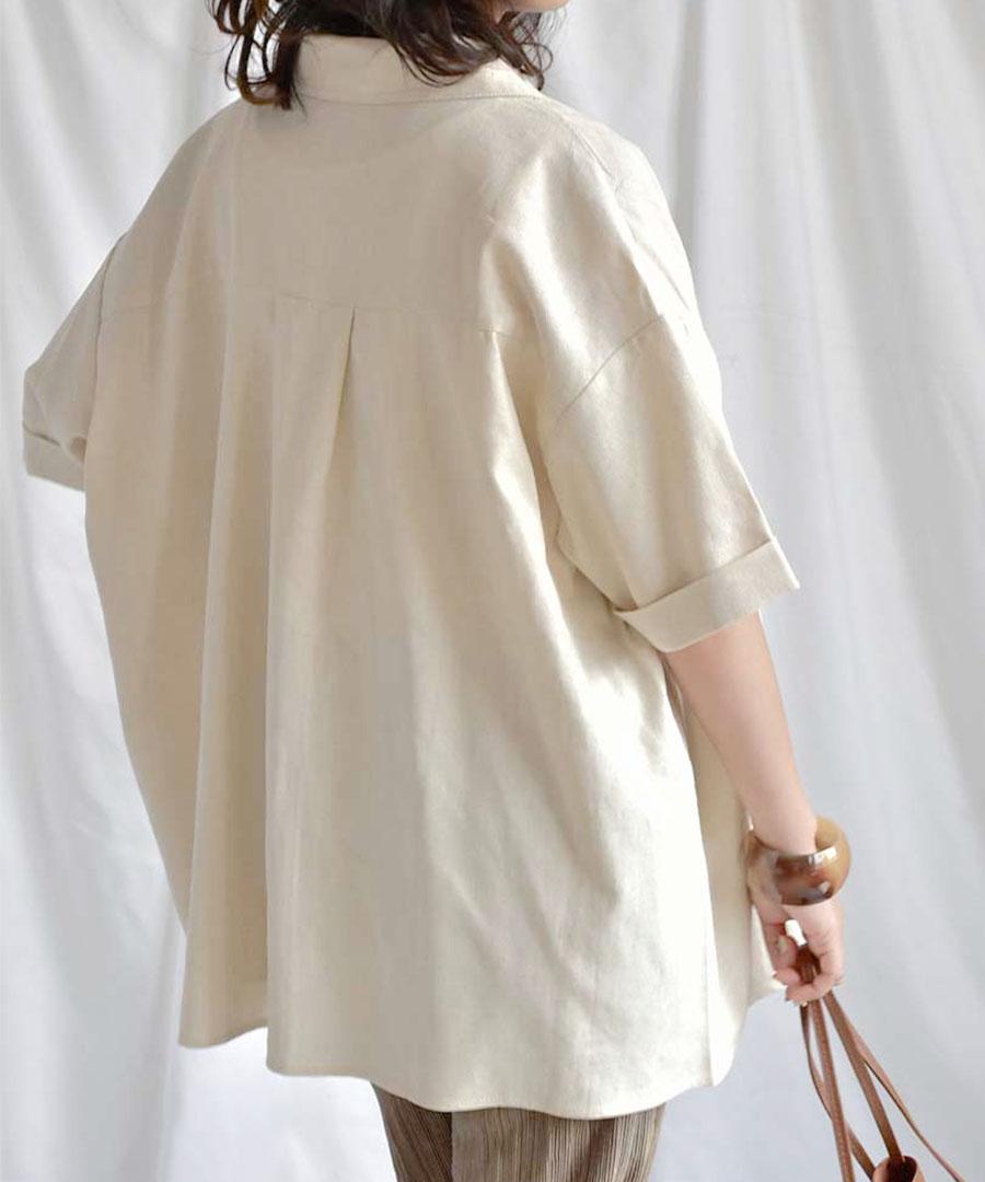 【シャツ単体販売】Cotton linen open collar shirt 23021【メール便配送対応】20%OFF