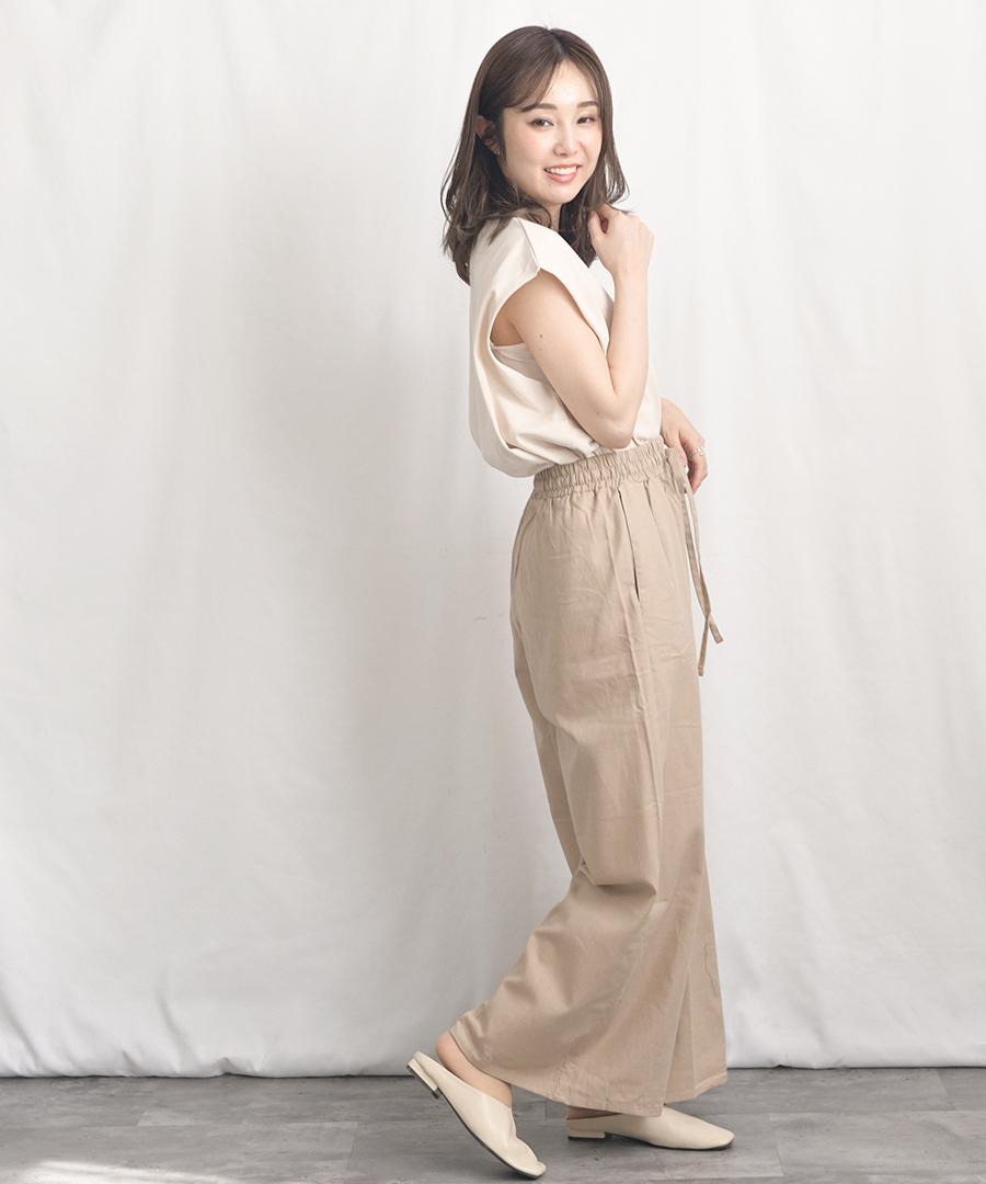 【パンツ単体販売のみ】Cotton linen wide pants 22021【メール便配送対応】20%OFF