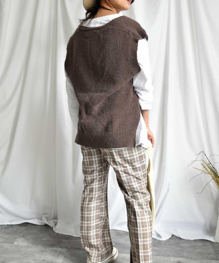 U neck knit vest 25001