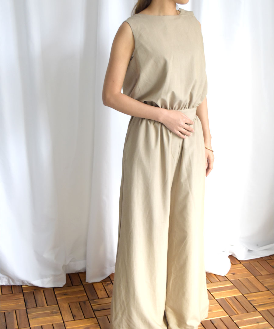 LAST1 50%OFF Linen touch no-sleeve all in one 29059